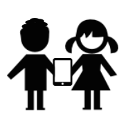 Boy and Girl Stick Figures Holding a Tablet