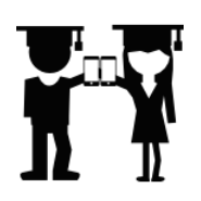Boy and Girl Graduate Stick Figures with Mobile Phones